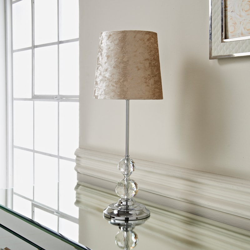 Luxe Crystal Velvet Table Lamp Beige Lighting B M