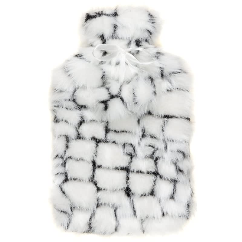 Deluxe Fur Hot Water Bottle - Black & White