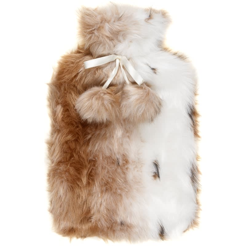 Deluxe Fur Hot Water Bottle - Brown & White