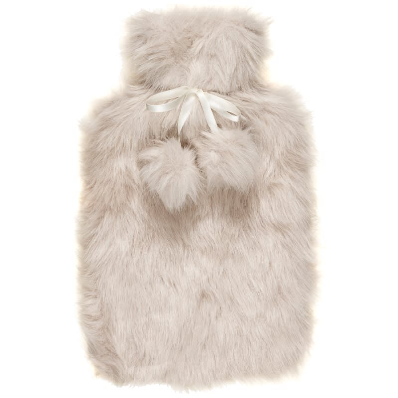 Deluxe Fur Hot Water Bottle - Grey