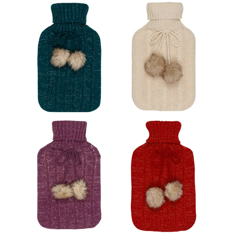 Cable Knit Hot Water Bottle 2L - Green