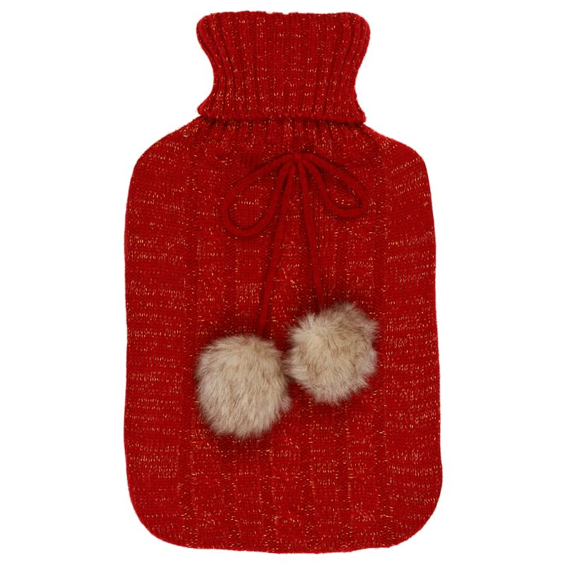 Cable Knit Hot Water Bottle 2L - Red