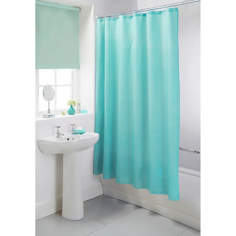 328464 Plain Shower Curtain Aqua