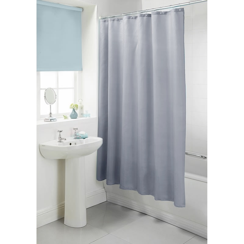 Plain Shower Curtain Grey Bathroom Accessories B M