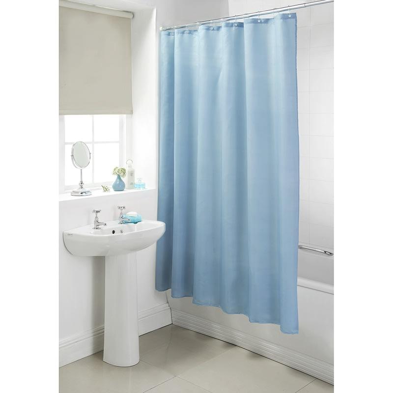 plain shower curtain light blue bathroom accessories b m. Black Bedroom Furniture Sets. Home Design Ideas