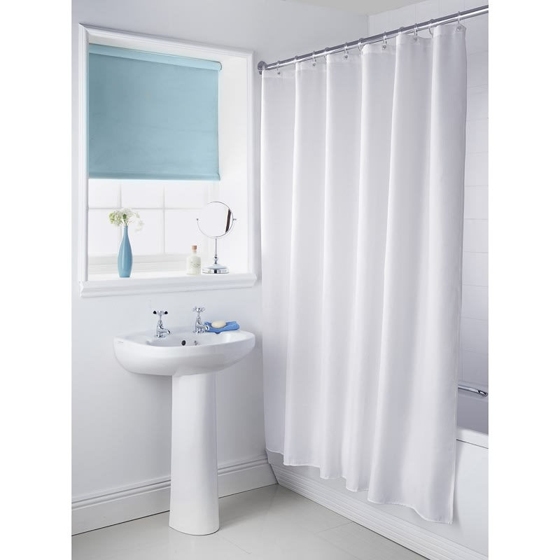 Plain Shower Curtain White Bathroom Accessories B Amp M