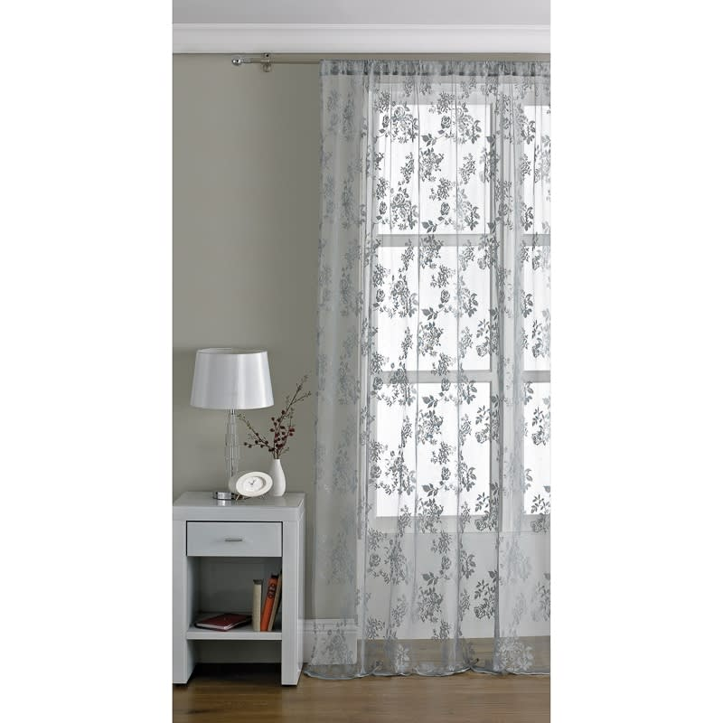Traditional Lace Voile 145 X 228cm Grey Voiles Home
