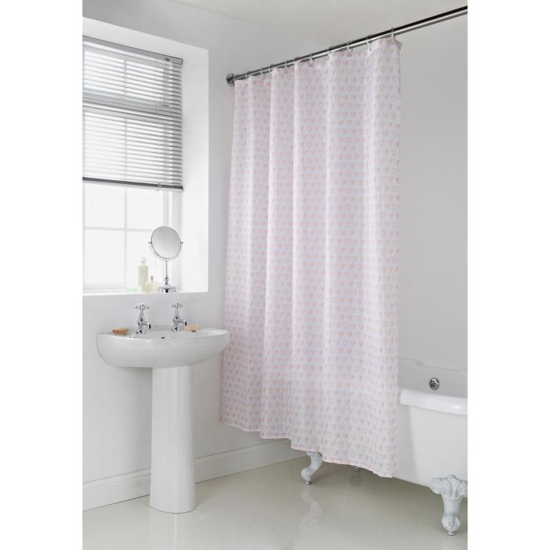 339065 Geo Shower Curtain Peach Hearts25