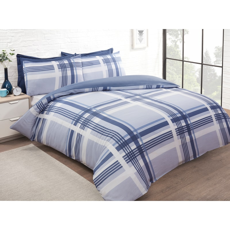 Check King Duvet Twin Pack - Blue