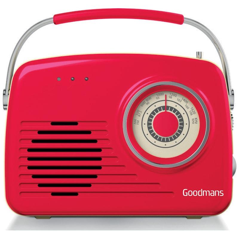 Goodmans Classic AM/FM Retro Radio - Red   Radios - B&M