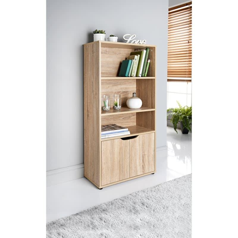 329263 Turin 2 Door Bookshelf Oak