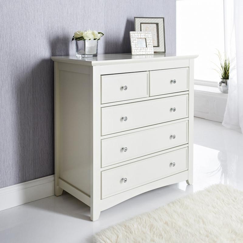 Arabella 5 Drawer Chest Unit Storage Bedroom Furniture B M