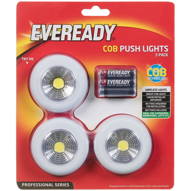 Eveready Cob Push Lights 3pk Electrical Lighting B Amp M