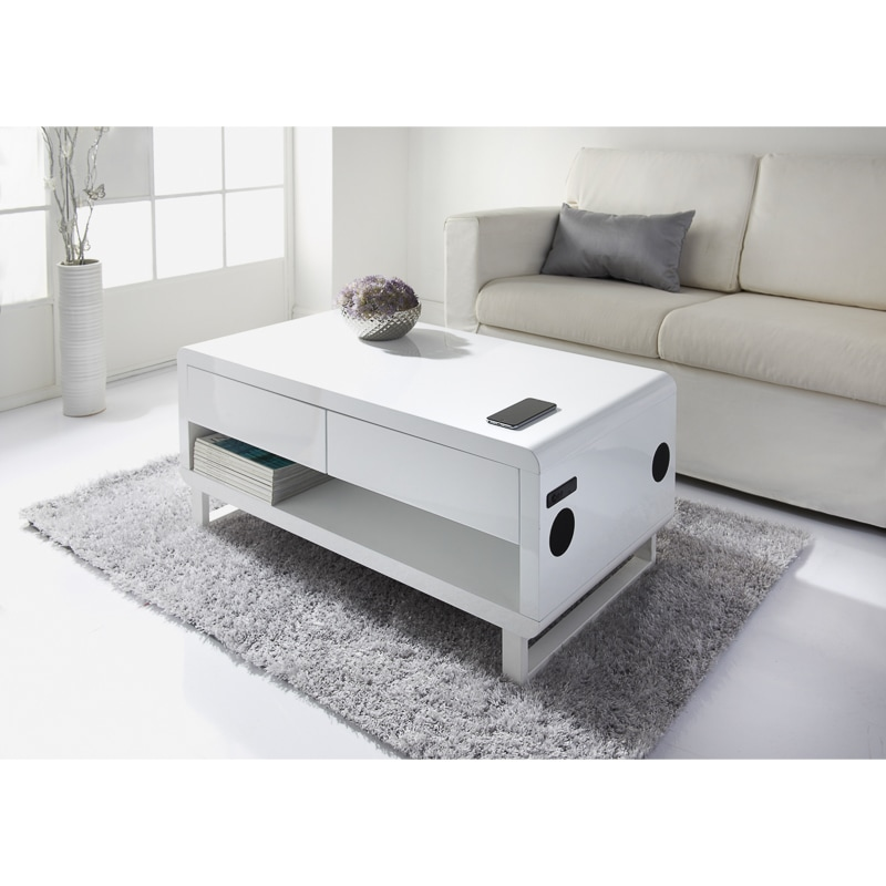 Straas Curved High Gloss Coffee Table In White: Bedroom Furniture - B&M