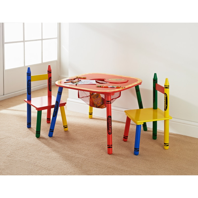 Crayola kids table chairs set 3pc kids furniture b m for Toddler table