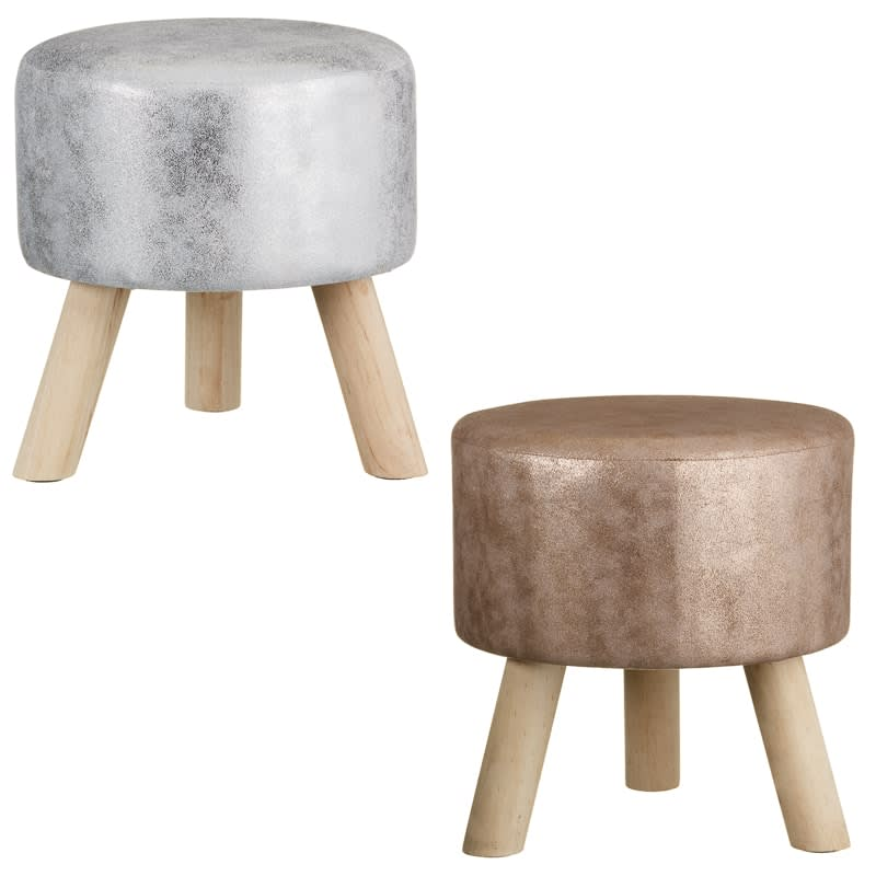 online store 49936 b4294 Home Decor Metallic Stool - Silver