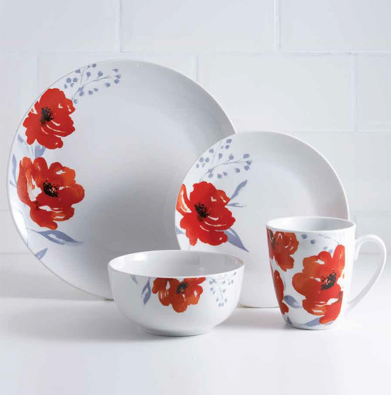 329916-karina-bailey-16pc-dinner-set-poppy & Karina Bailey Poppy Dinner Set 16pc | Home | Tableware \u0026 Dinner - B\u0026M