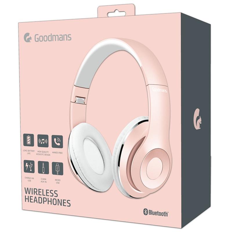 Goodmans Wireless Headphones Rose Gold Audio Headphones