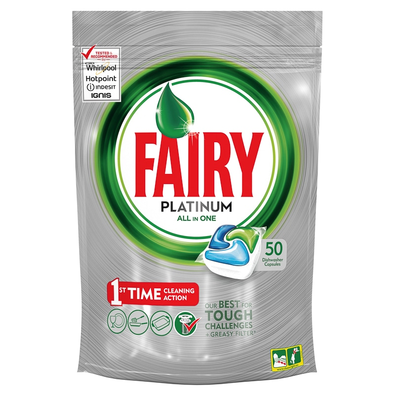 Fairy Platinum All in One Dishwasher Capsules 50pk