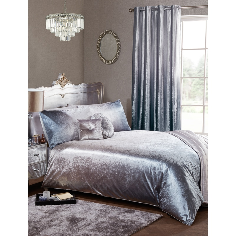 Full Ombre Velvet Double Duvet Set - Silver