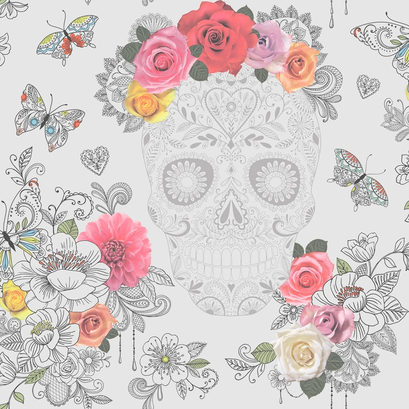 Sugar Skulls Wallpaper Grey Wallpaper B Amp M