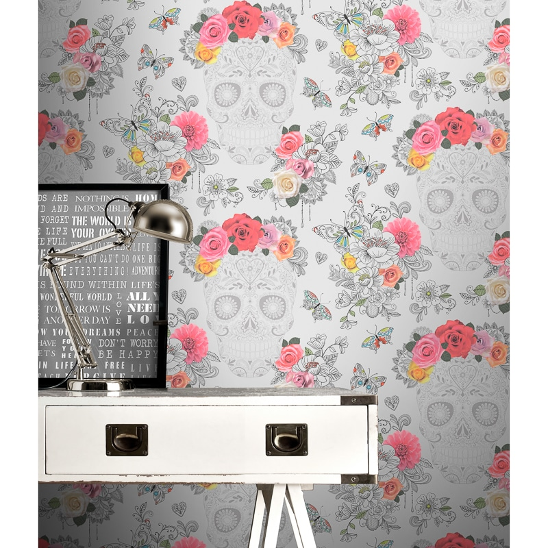 Sugar Skulls Wallpaper Grey Wallpaper B Amp M