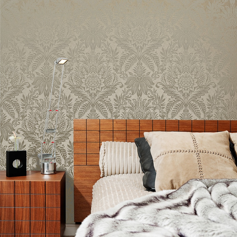Signature Damask Wallpaper Biscuit Wallpaper B Amp M