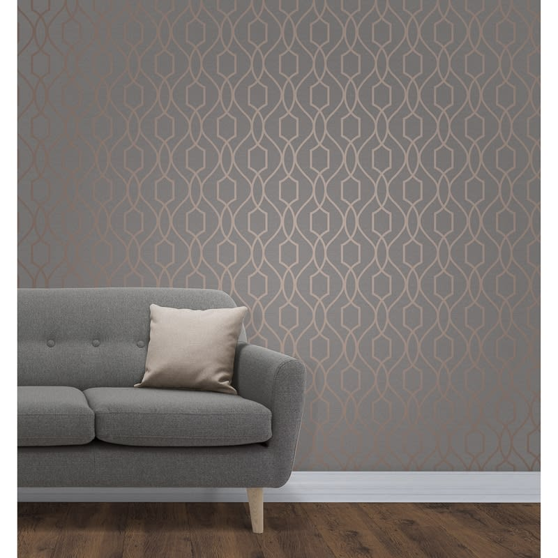 Apex Trellis Sidewall Wallpaper Copper Wallpaper B Amp M