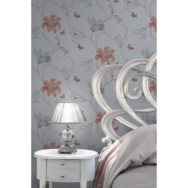 Amelia Floral Wallpaper Rose Gold Wallpaper B Amp M