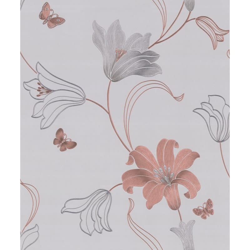 Amelia Floral Wallpaper - Rose Gold