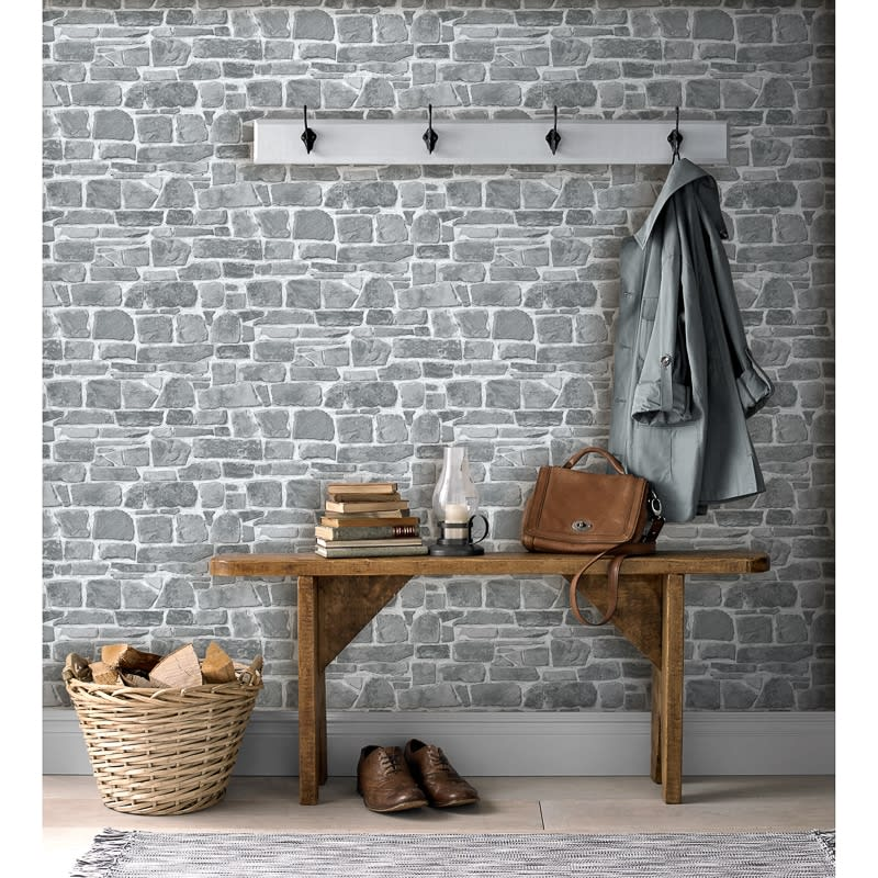 Broken Brick Wallpaper Grey Wallpaper B Amp M