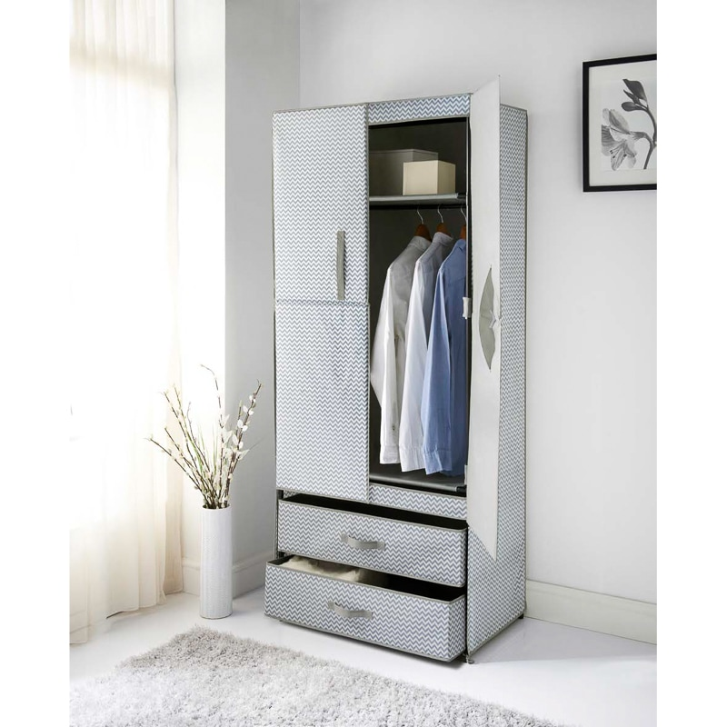 Spaceways 2 Door Canvas Wardrobe Chevron Furniture B Amp M