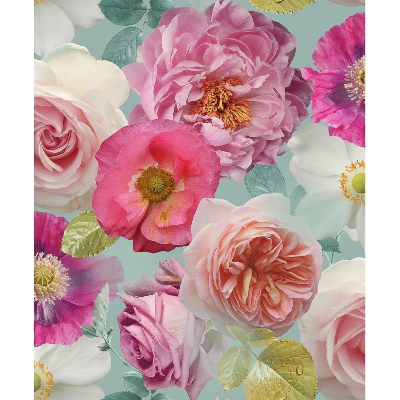 Country Garden Wallpaper Teal Wallpaper B Amp M