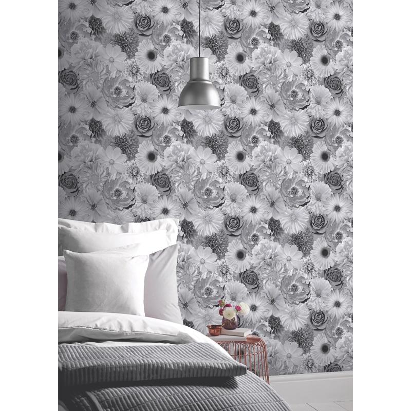 330638 Arthouse Foil In Bloom Mono Wallpaper 2