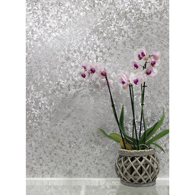 Silver Wall Paper velvet crush foil wallpaper - silver   wallpaper - b&m