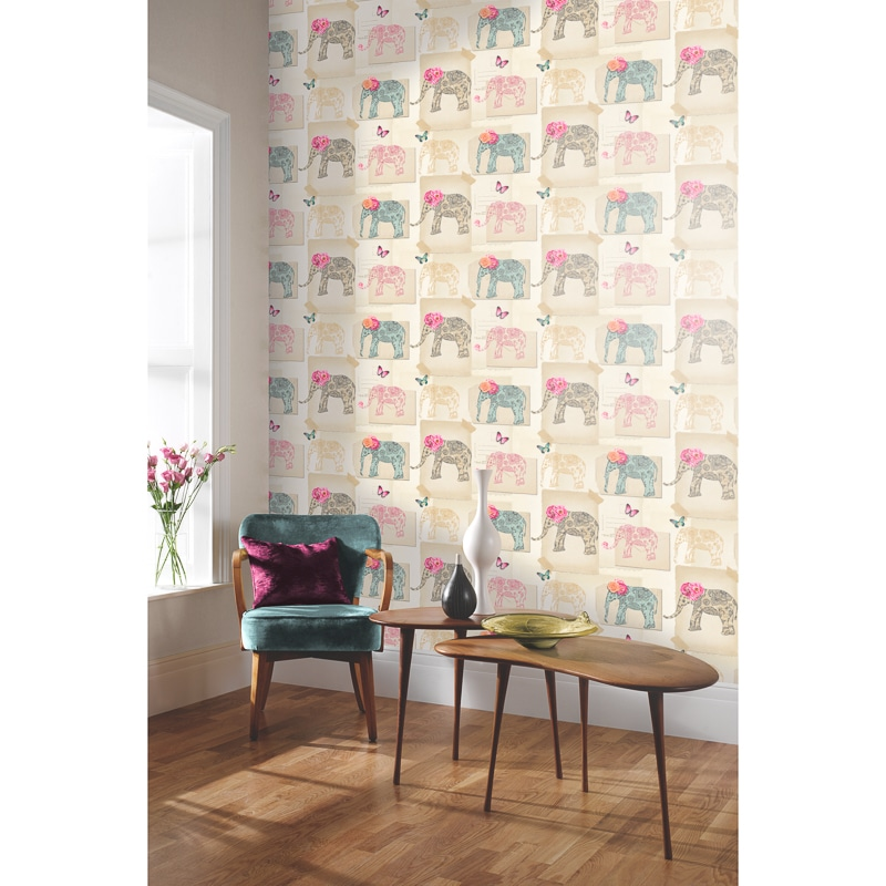 India Rose Wallpaper Multi Wallpaper B Amp M