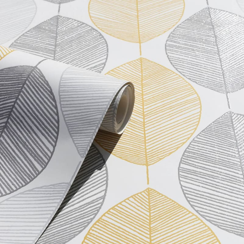 Scandi Leaf Wallpaper Yellow Wallpaper B Amp M