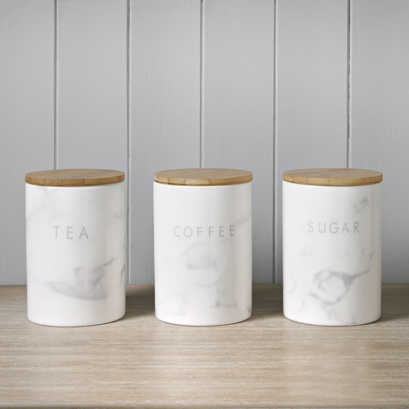 Marble Effect Kitchen Canisters 3pc