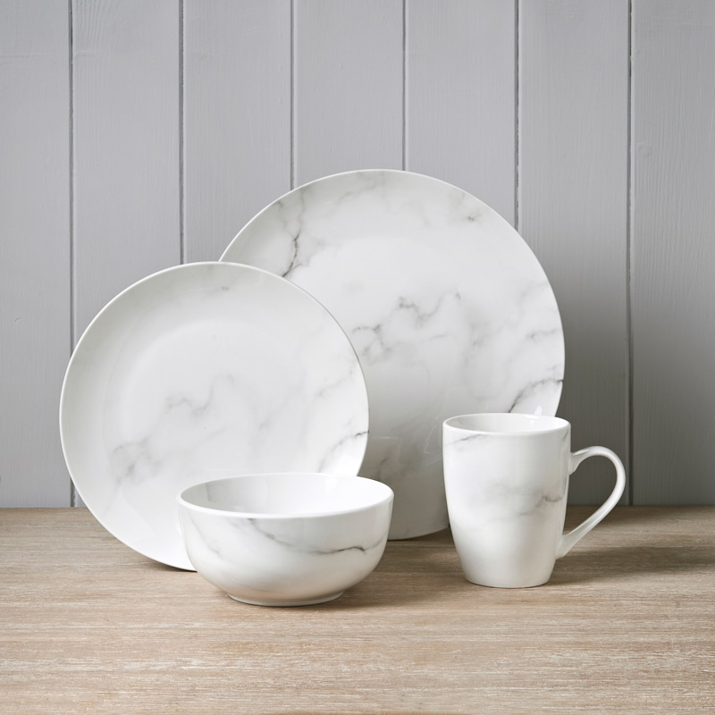White Marble Effect Dinner Set 16pc Dining B Amp M