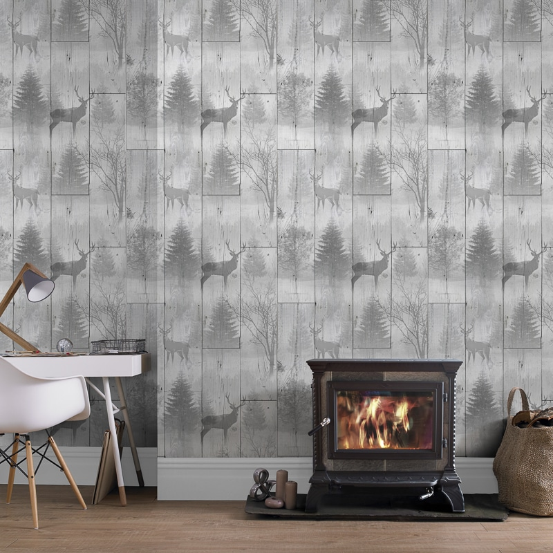 Highland Plank Wallpaper Neutral Wallpaper B Amp M