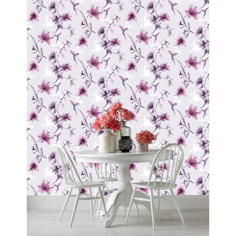X Ray Floral Wallpaper Lilac Wallpaper B Amp M