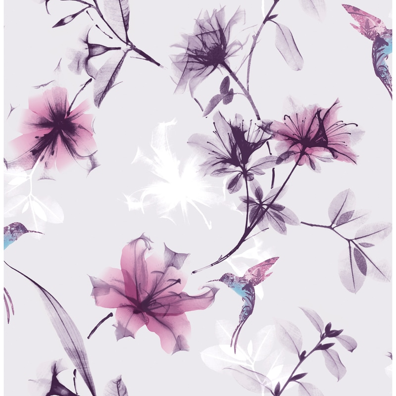 X-Ray Floral Wallpaper - Lilac