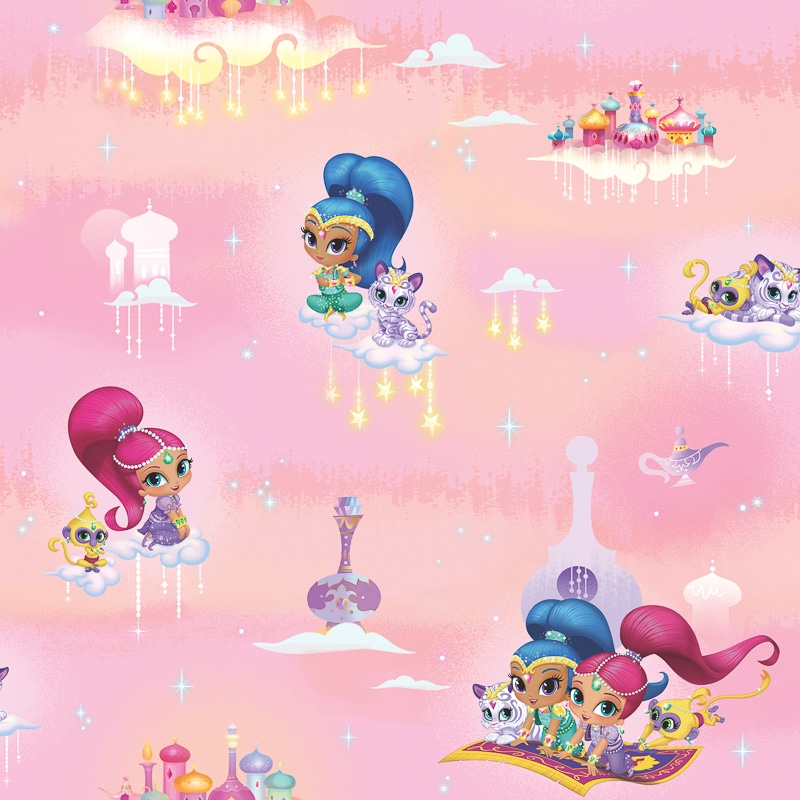 Shimmer And Shine Wallpaper Pink Wallpaper B Amp M