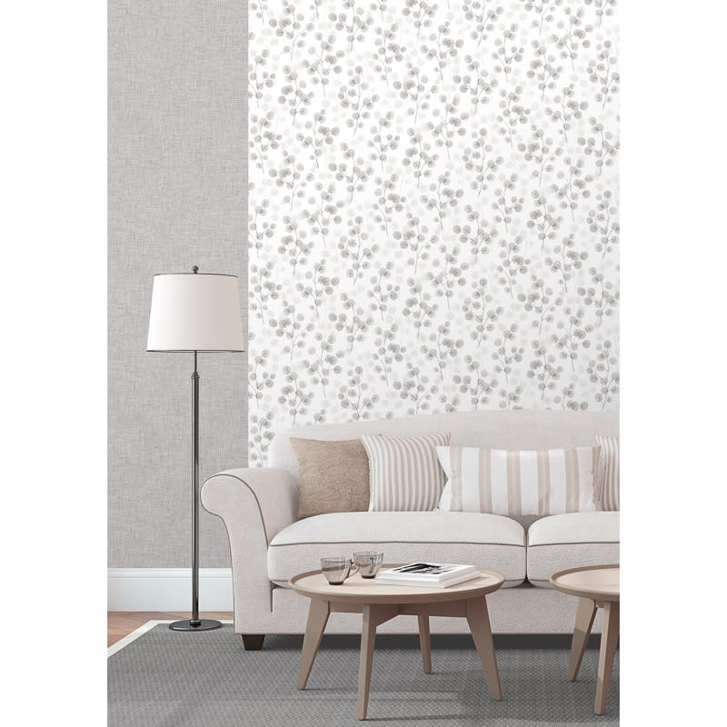 Natasha Floral Wallpaper - Grey