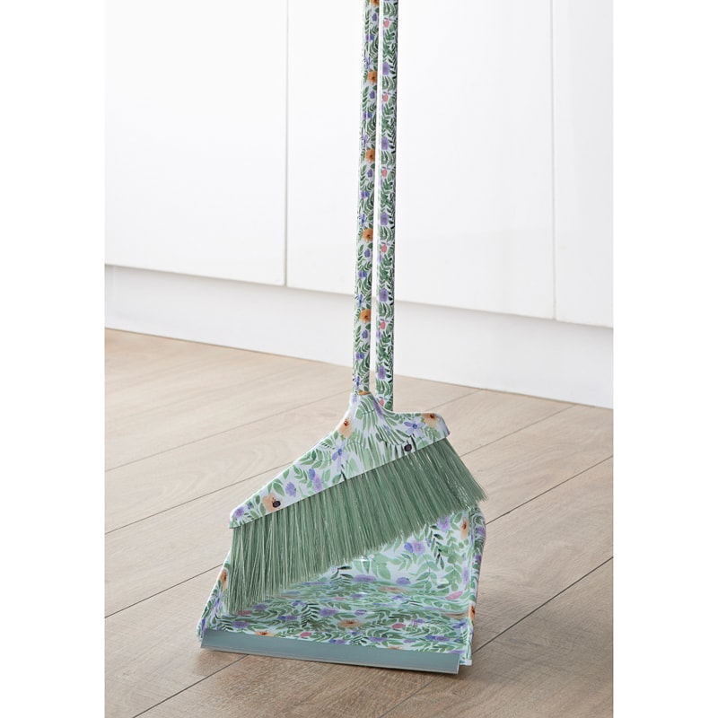 Dustpan & Brush with Printed Handle - Floral