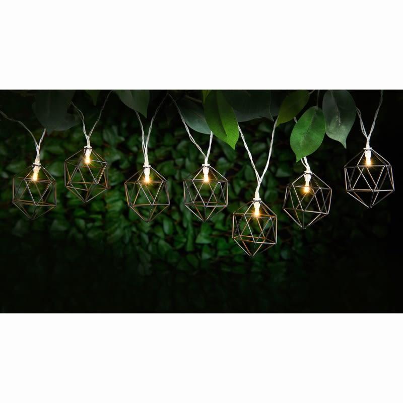 Outside Lights At B M: Caged Solar String Lights 10pk - Hexagonal