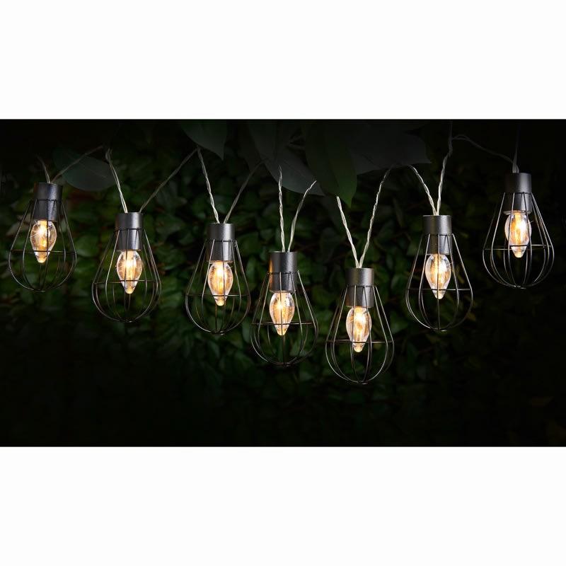 caged solar string lights 10pk lantern solar lighting b m