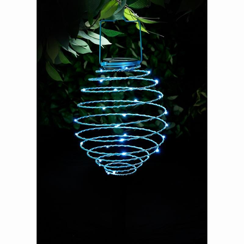 Solar Powered Spiral Lantern Blue Garden Lighting B Amp M