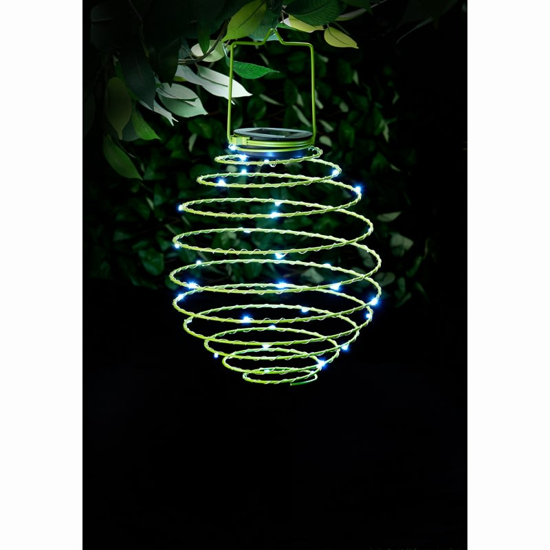 Outside Lights At B M: Solar Powered Spiral Lantern - Green