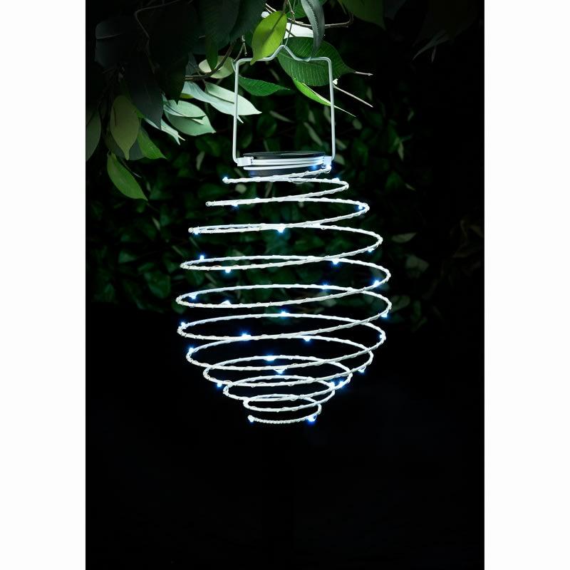 Outside Lights At B M: Solar Powered Spiral Lantern - White